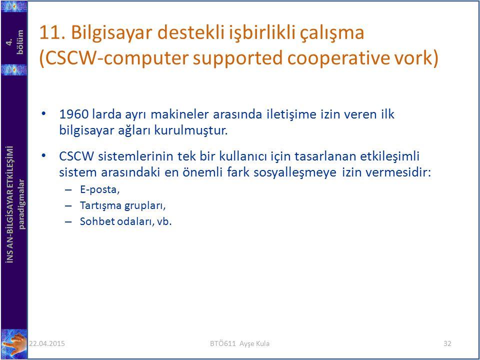 1960 larda ayrı makineler arasında iletişime izin veren ilk bilgisayar ağları kurulmuştur. CSCW sistemlerinin tek bir kullanıcı için tasarlanan etkile
