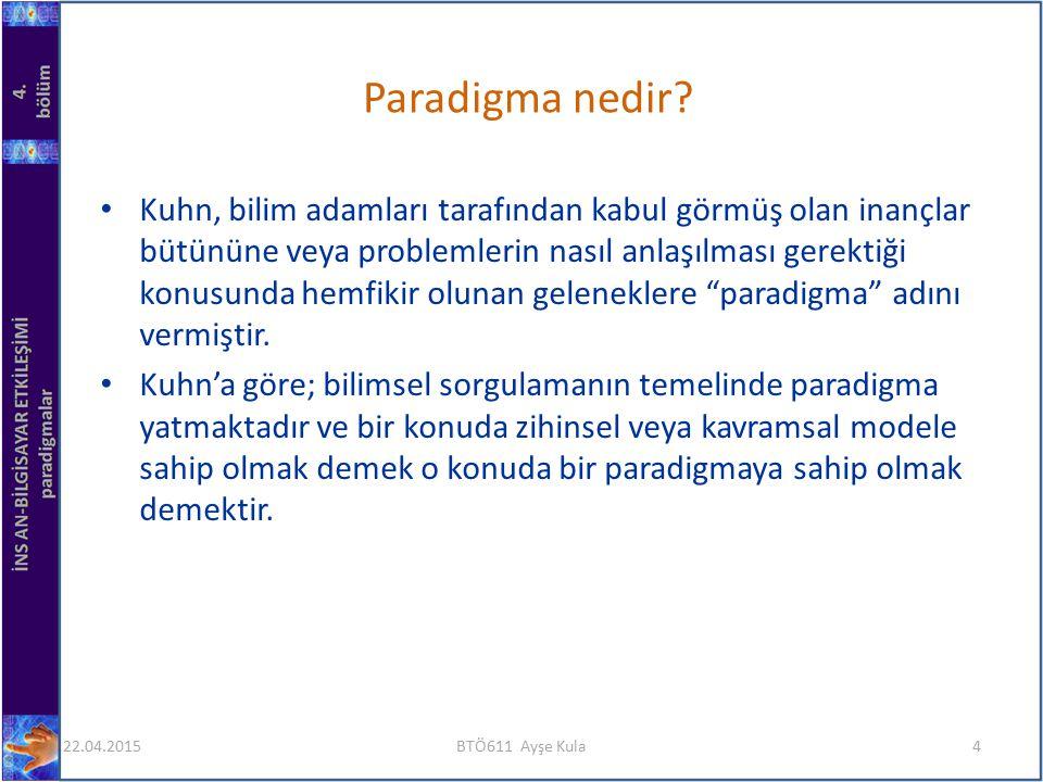 Kuhn, bilim adamları tarafından kabul görmüş olan inançlar bütününe veya problemlerin nasıl anlaşılması gerektiği konusunda hemfikir olunan geleneklere paradigma adını vermiştir.