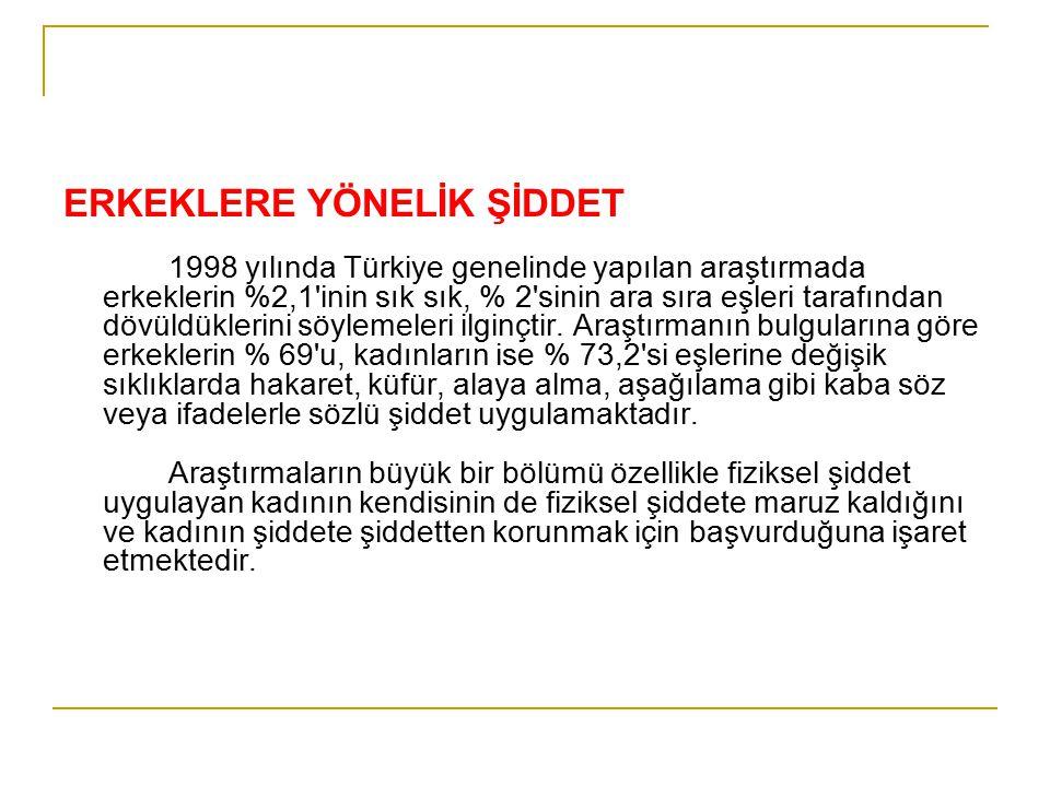 ERKEKLERE YÖNELİK ŞİDDET 1998 yılında Türkiye genelinde yapılan araştırmada erkeklerin %2,1'inin sık sık, % 2'sinin ara sıra eşleri tarafından dövüldü