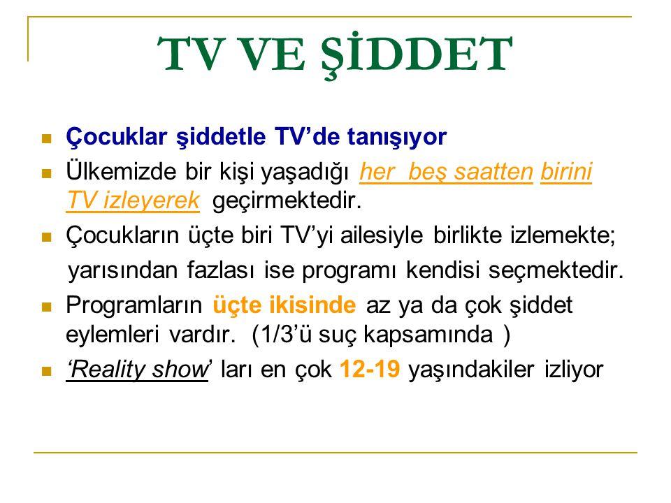 TV VE ŞİDDET Çocuklar şiddetle TV'de tanışıyor Ülkemizde bir kişi yaşadığı her beş saatten birini TV izleyerek geçirmektedir. Çocukların üçte biri TV'
