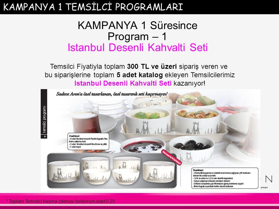KAMPANYA 1 TEMSİLCİ PROGRAMLARI KAMPANYA 1 Süresince Program – 1 Istanbul Desenli Kahvalti Seti Temsilci Fiyatiyla toplam 300 TL ve üzeri sipariş veren ve bu siparişlerine toplam 5 adet katalog ekleyen Temsilcilerimiz Istanbul Desenli Kahvalti Seti kazanıyor.