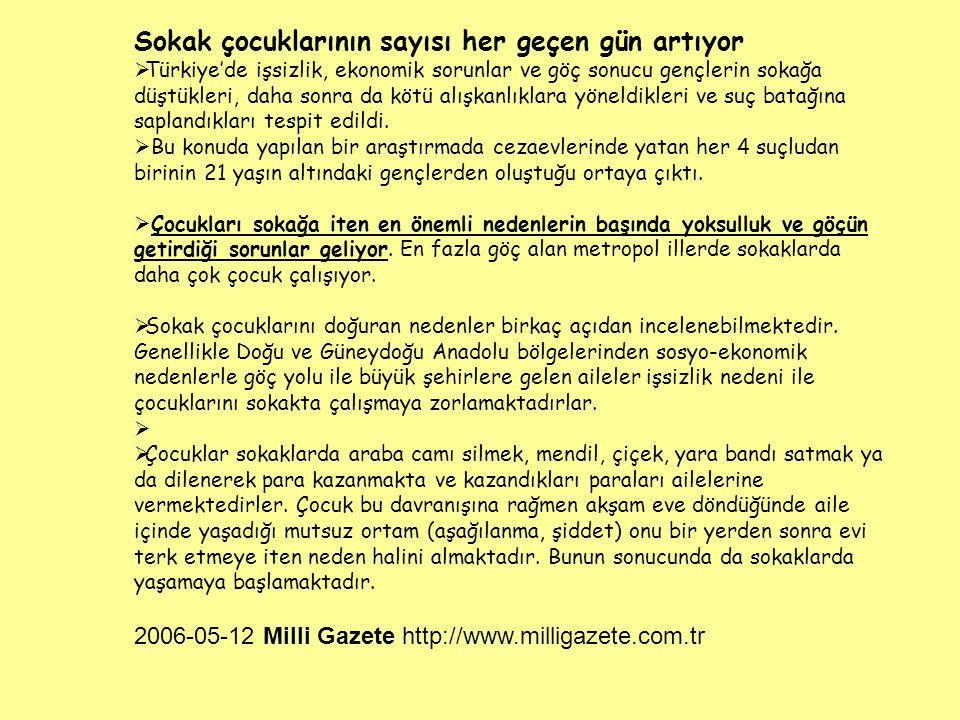 Sokak çocuklarının sayısı her geçen gün artıyor  Türkiye'de işsizlik, ekonomik sorunlar ve göç sonucu gençlerin sokağa düştükleri, daha sonra da kötü