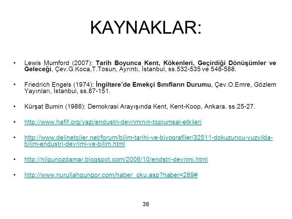 36 KAYNAKLAR: Lewis Mumford (2007): Tarih Boyunca Kent, Kökenleri, Geçirdiği Dönüşümler ve Geleceği, Çev.G.Koca,T.Tosun, Ayrıntı, İstanbul, ss.532-535 ve 548-588.