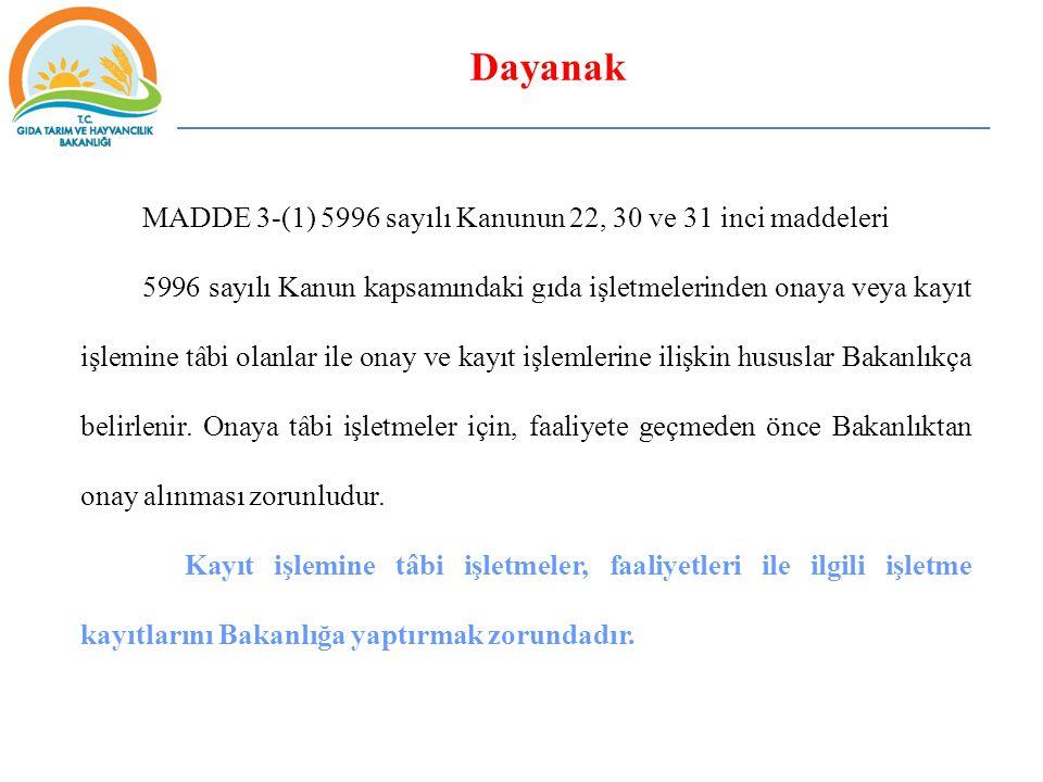 Tanımlar MADDE 4  İşletme kayıt belgesi ve numarası: İstenilen bilgi ve belgeleri tamamlanmış kayıt kapsamındaki gıda işletmelerine yetkili merci tarafından verilen belgeyi ve bu belge üzerinde yer alan, TR-İl Trafik Kodu-K-Kayıt Numarası (6 Hane) şekilde kodlanacak olan harf ve rakamlardan oluşan belge üzerindeki numarayı, Örnek TR-09-K-000123