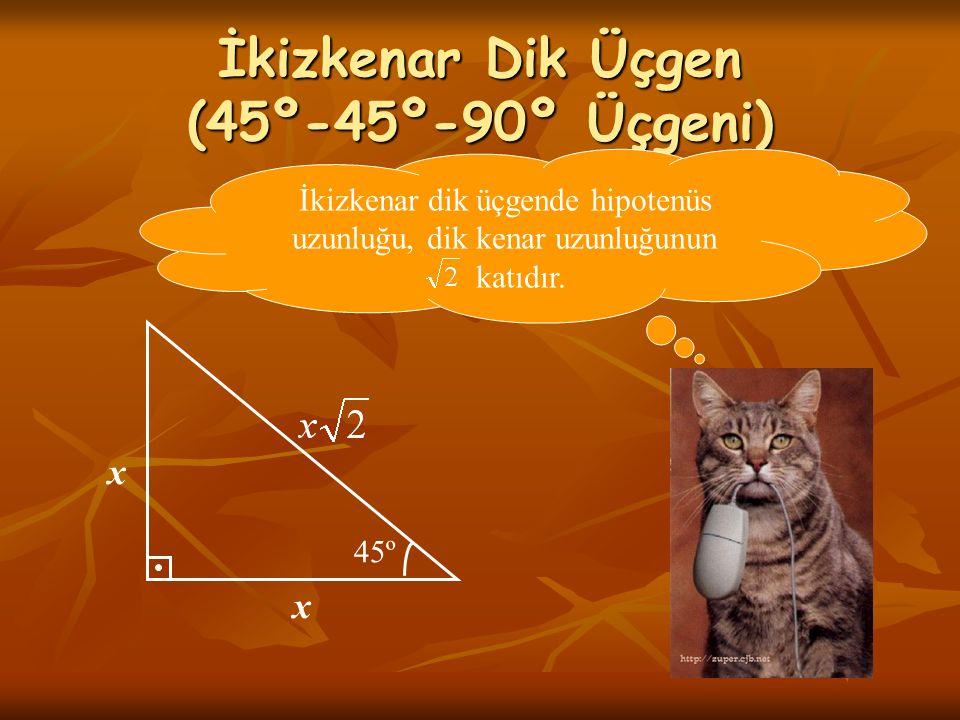 İkizkenar Dik Üçgen (45º-45º-90º Üçgeni) 45º x x İkizkenar dik üçgende hipotenüs uzunluğu, dik kenar uzunluğunun katıdır.