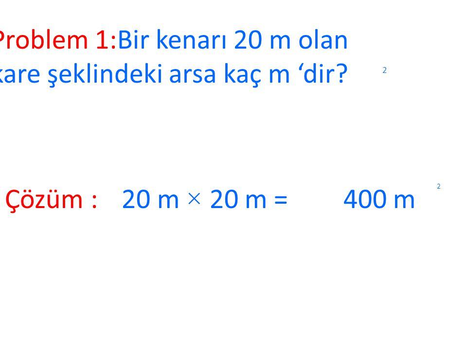 Karenin Alanı 4 cm 1 cm 4 cm DC BA 2 Karenin alanını bulmak için bir kenarının uzunluğu kendisiyle çarpılır. Örnek: Bir kenarı 4 cm olan karenin alanı
