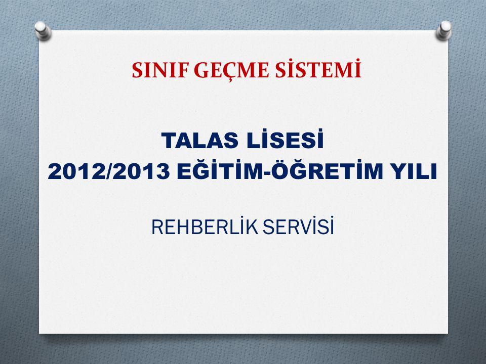 SINIF GEÇME SİSTEMİ TALAS LİSESİ 2012/2013 EĞİTİM-ÖĞRETİM YILI REHBERLİK SERVİSİ