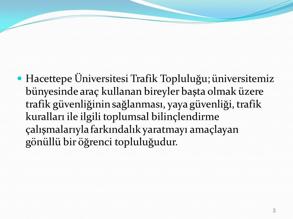 Hacettepe Üniversitesi Trafik Topluluğu; üniversitemiz bünyesinde araç kullanan bireyler başta olmak üzere trafik güvenliğinin sağlanması, yaya güvenliği, trafik kuralları ile ilgili toplumsal bilinçlendirme çalışmalarıyla farkındalık yaratmayı amaçlayan gönüllü bir öğrenci topluluğudur.