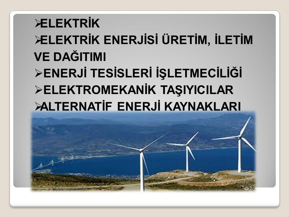  ELEKTRİK  ELEKTRİK ENERJİSİ ÜRETİM, İLETİM VE DAĞITIMI  ENERJİ TESİSLERİ İŞLETMECİLİĞİ  ELEKTROMEKANİK TAŞIYICILAR  ALTERNATİF ENERJİ KAYNAKLARI TEKNOLOJİSİ