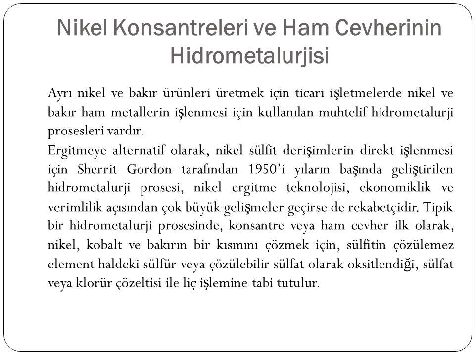 Nikel Konsantreleri ve Ham Cevherinin Hidrometalurjisi Ayrı nikel ve bakır ürünleri üretmek için ticari i ş letmelerde nikel ve bakır ham metallerin i