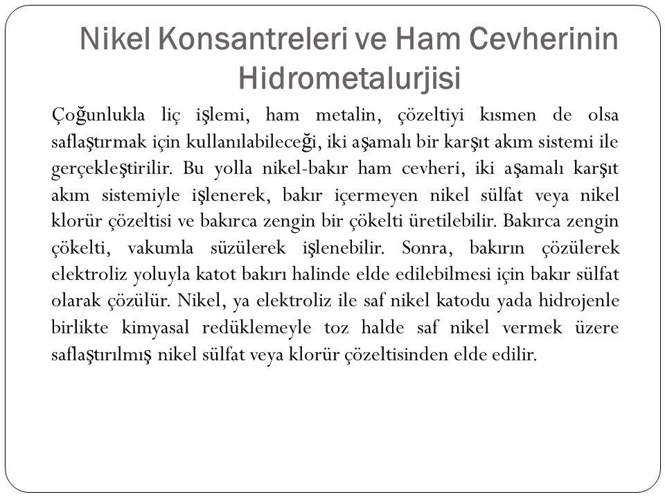 Nikel Konsantreleri ve Ham Cevherinin Hidrometalurjisi Ço ğ unlukla liç i ş lemi, ham metalin, çözeltiyi kısmen de olsa safla ş tırmak için kullanılab