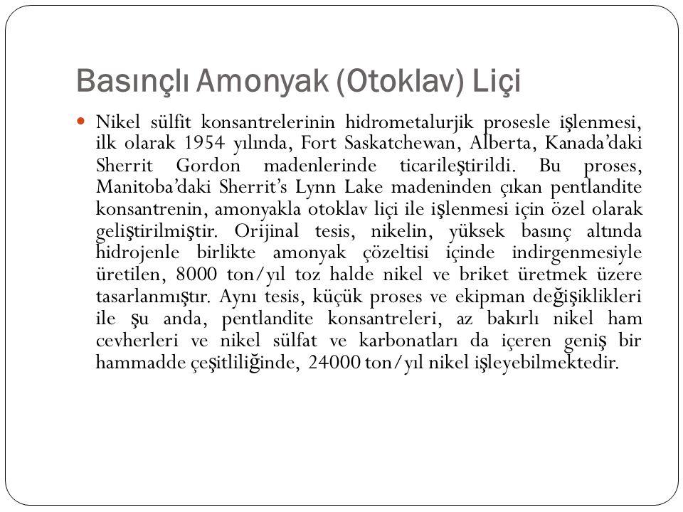 Basınçlı Amonyak (Otoklav) Liçi Nikel sülfit konsantrelerinin hidrometalurjik prosesle i ş lenmesi, ilk olarak 1954 yılında, Fort Saskatchewan, Albert