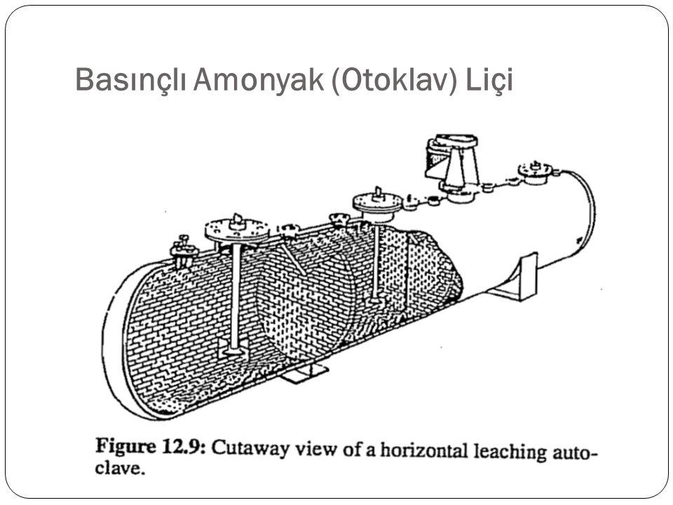 İ ki a ş amalı bir kar ş ıt akım sisteminde, 80-95 ˚C'de ki ince ö ğ ütülmü ş nikel sülfit konsantreleri ve ham metalleri, 850 kPa hava basıncı altında amonyaklı amonyum sülfür çözeltisinden sekiz tane dört bölmeli yatay otoklava verilir ( Ş ekil 12.9).