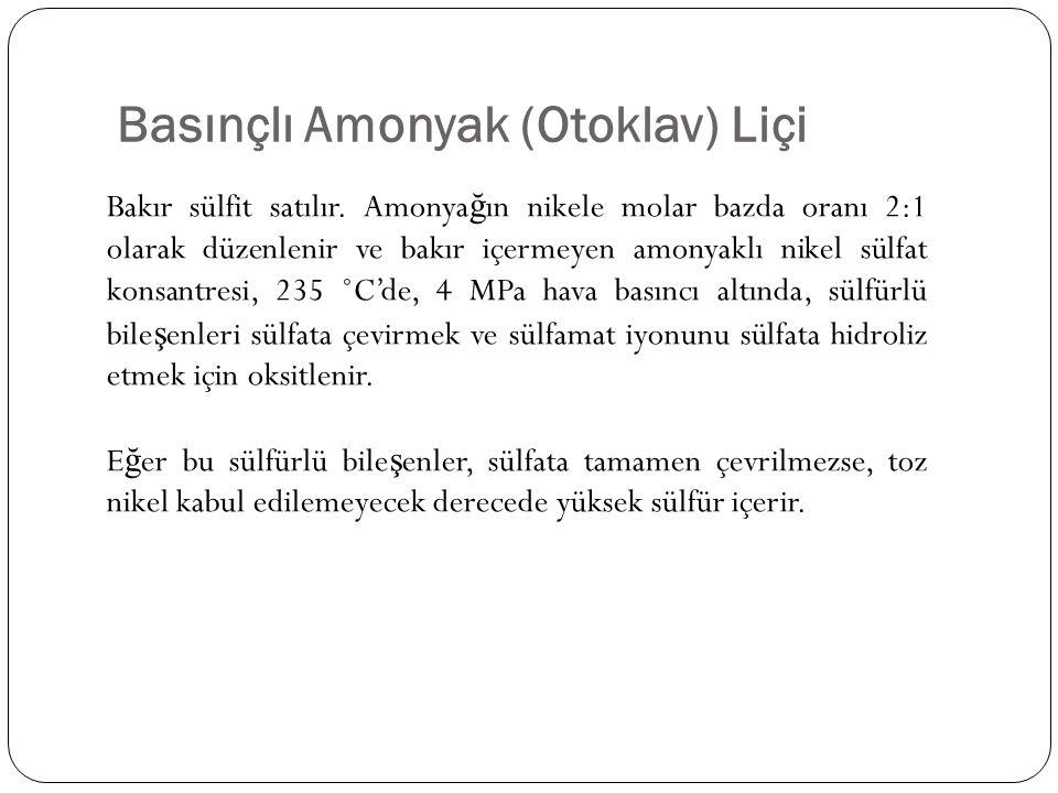 Basınçlı Amonyak (Otoklav) Liçi Bakır sülfit satılır. Amonya ğ ın nikele molar bazda oranı 2:1 olarak düzenlenir ve bakır içermeyen amonyaklı nikel sü