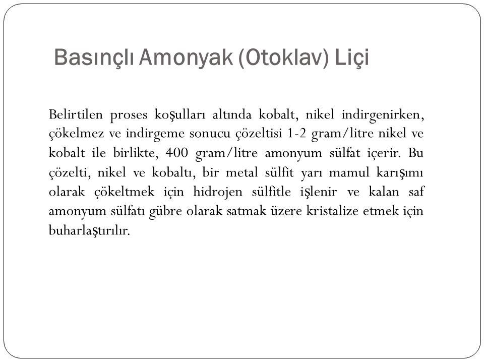Basınçlı Amonyak (Otoklav) Liçi Belirtilen proses ko ş ulları altında kobalt, nikel indirgenirken, çökelmez ve indirgeme sonucu çözeltisi 1-2 gram/lit