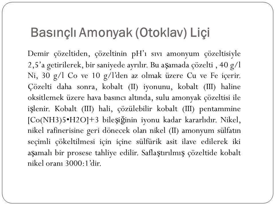 Basınçlı Amonyak (Otoklav) Liçi Demir çözeltiden, çözeltinin pH'ı sıvı amonyum çözeltisiyle 2,5'a getirilerek, bir saniyede ayrılır. Bu a ş amada çöze