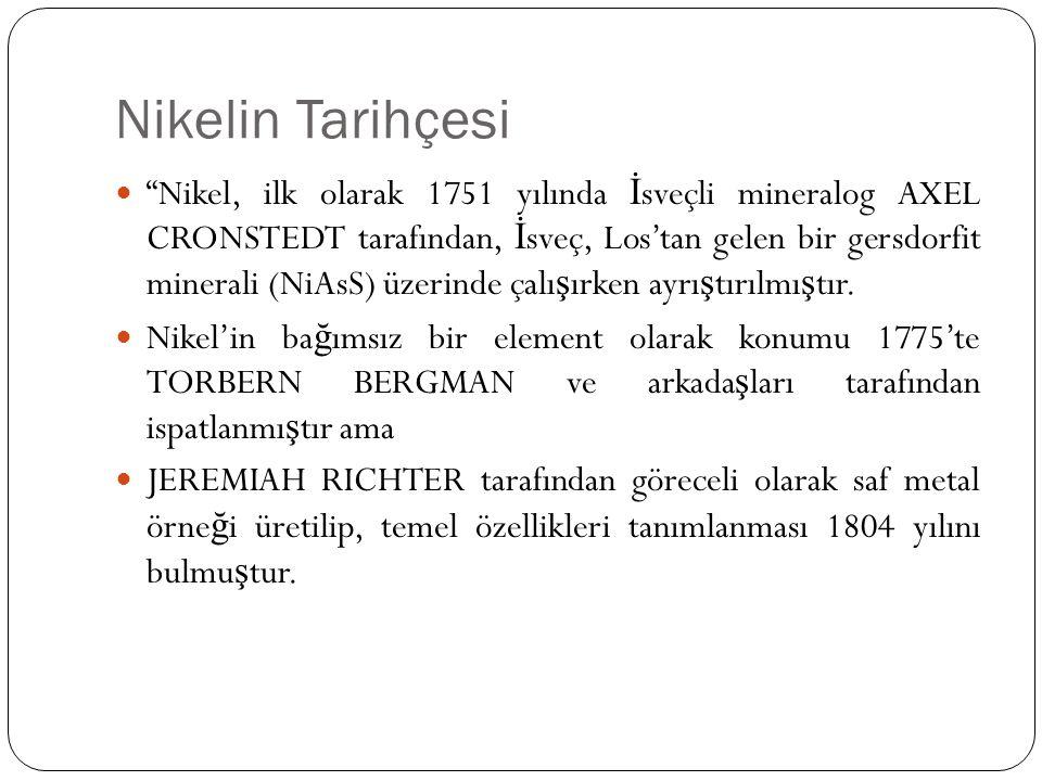 """Nikelin Tarihçesi """"Nikel, ilk olarak 1751 yılında İ sveçli mineralog AXEL CRONSTEDT tarafından, İ sveç, Los'tan gelen bir gersdorfit minerali (NiAsS)"""