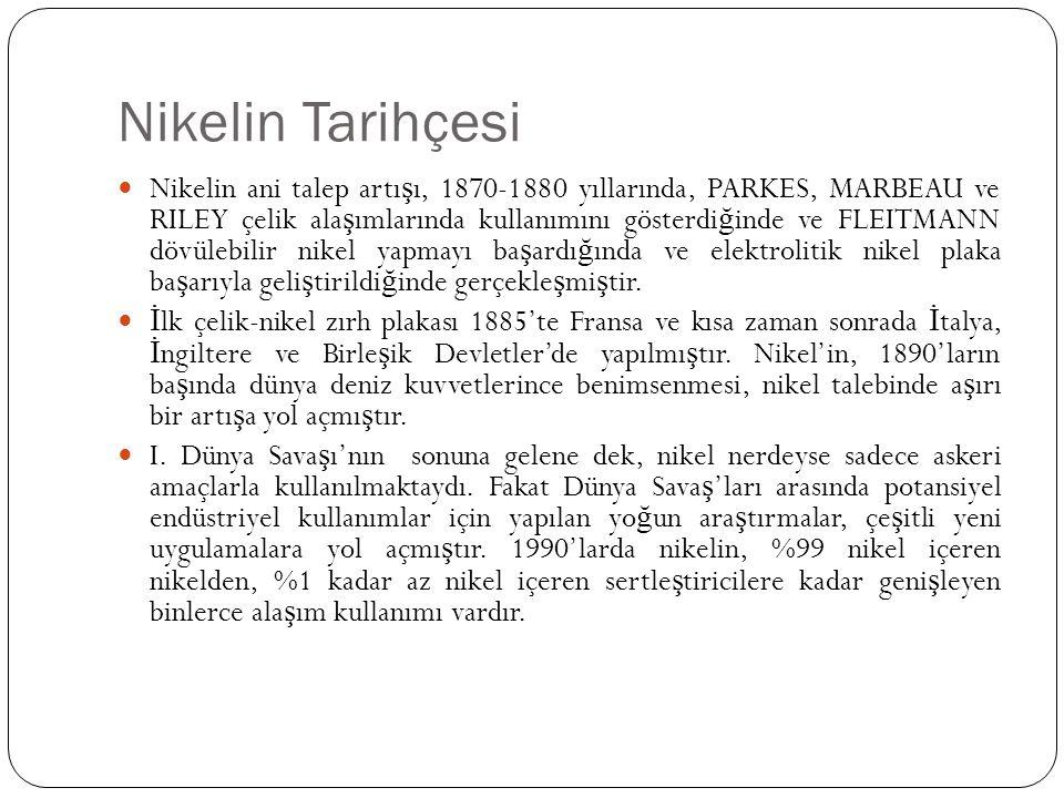 Nikelin Tarihçesi Nikelin ani talep artı ş ı, 1870-1880 yıllarında, PARKES, MARBEAU ve RILEY çelik ala ş ımlarında kullanımını gösterdi ğ inde ve FLEI