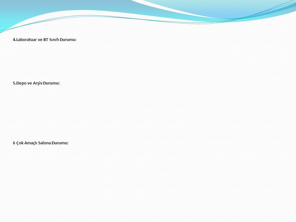 4.Laboratuar ve BT Sınıfı Durumu: 5.Depo ve Arşiv Durumu: 6 Çok Amaçlı Salonu Durumu: