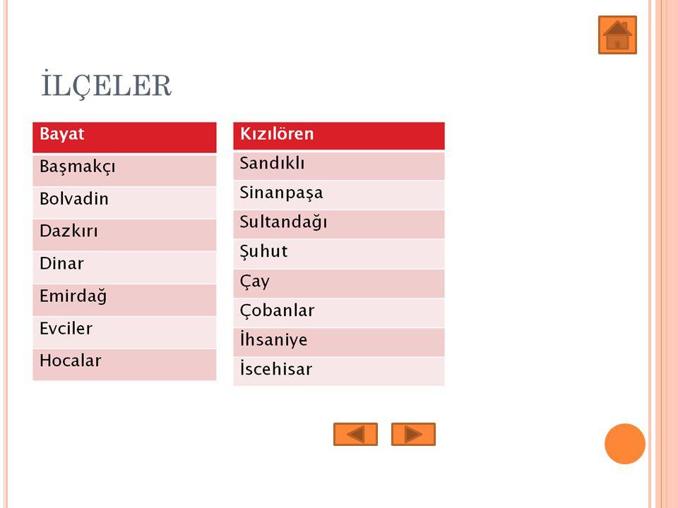KOMŞU İLLER Afyonun Komşu İlleri Afyonun Komşu İlleri Eskişehir, Konya, Isparta, Denizli, Uşak ve Kütahya illeridir.