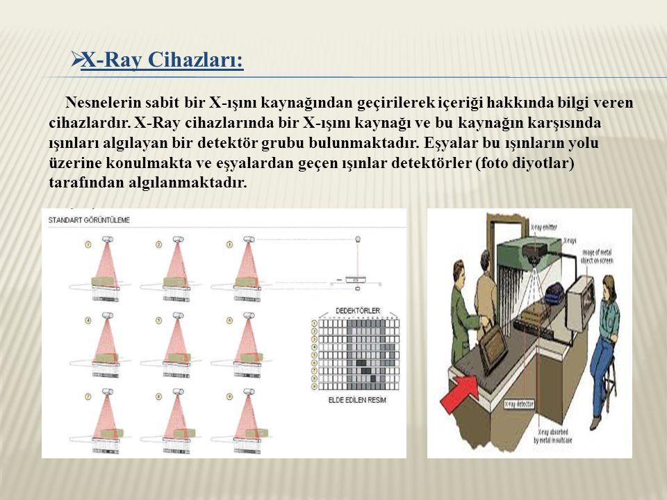  X-Ray Cihazları: Nesnelerin sabit bir X-ışını kaynağından geçirilerek içeriği hakkında bilgi veren cihazlardır.