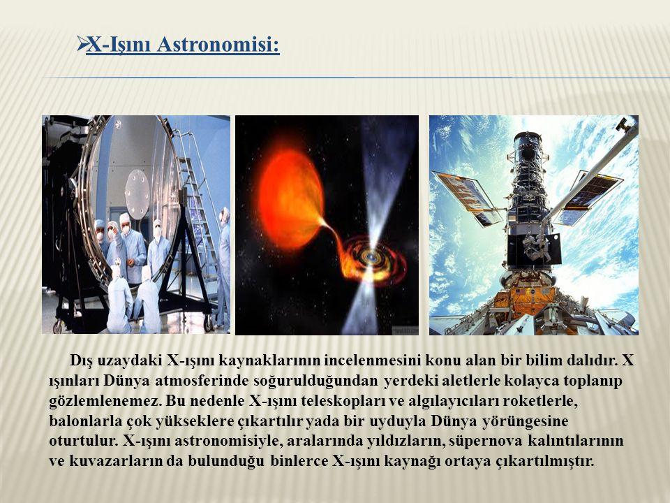  X-Işını Astronomisi: Dış uzaydaki X-ışını kaynaklarının incelenmesini konu alan bir bilim dalıdır.