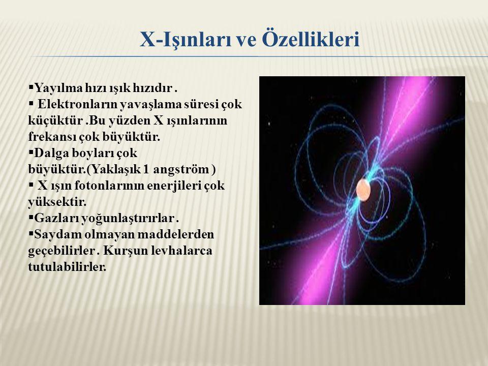 ÇİZELGE: X-ışınlarının Genel Özellikleri ve Madde Etkileşmesi Genel Özellikler Etkileşme sonucu maddeden çıkan tanecik  Sürekli spektrum verir.