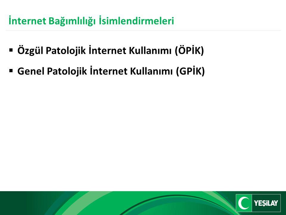  Özgül Patolojik İnternet Kullanımı (ÖPİK)  Genel Patolojik İnternet Kullanımı (GPİK) İnternet Bağımlılığı İsimlendirmeleri