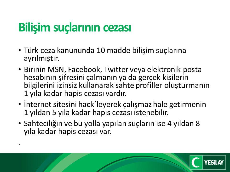 Bilişim suçlarının cezası Türk ceza kanununda 10 madde bilişim suçlarına ayrılmıştır.
