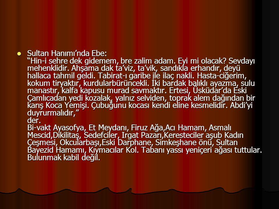 Sultan Hanımı'nda Ebe: Hin-i sehre dek gidemem, bre zalim adam.