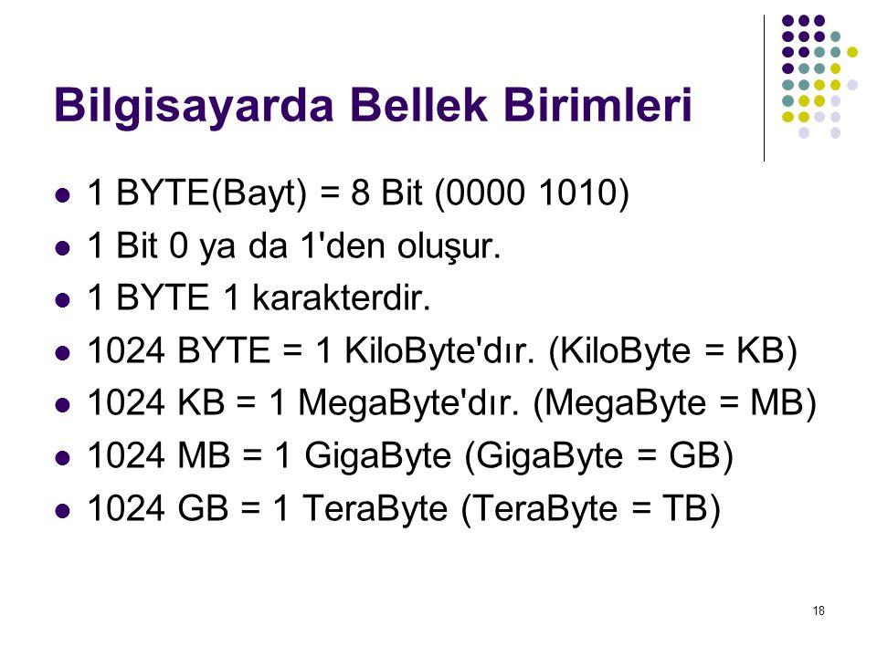18 Bilgisayarda Bellek Birimleri 1 BYTE(Bayt) = 8 Bit (0000 1010) 1 Bit 0 ya da 1'den oluşur. 1 BYTE 1 karakterdir. 1024 BYTE = 1 KiloByte'dır. (KiloB