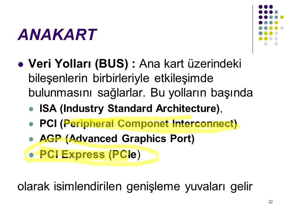 22 ANAKART Veri Yolları (BUS) : Ana kart üzerindeki bileşenlerin birbirleriyle etkileşimde bulunmasını sağlarlar. Bu yolların başında ISA (Industry St