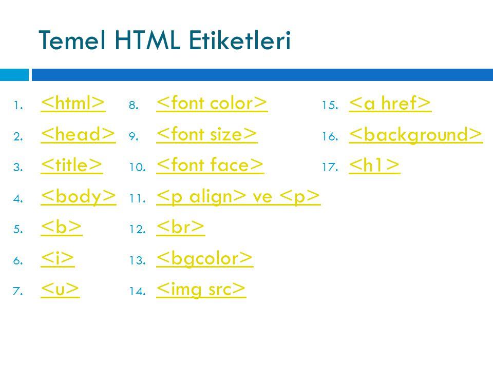 Temel HTML Etiketleri 1. 2. 3. 4. 5. 6. 7. 8. 9. 10. 11. ve ve 12. 13. 14. 15. 16. 17.