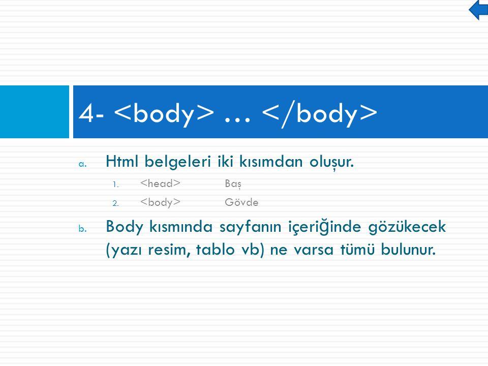 a. Html belgeleri iki kısımdan oluşur. 1. Baş 2.