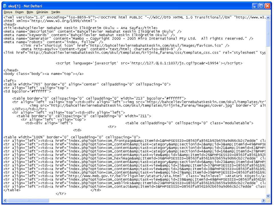 HTML belgeleri oluşturmak  HTML dokümanları bir yazı editörü ile (wordpad, notdefteri, word gibi) düzenlenip *.htm, *.html, *.shtml gibi uzantılarla kaydedilir.