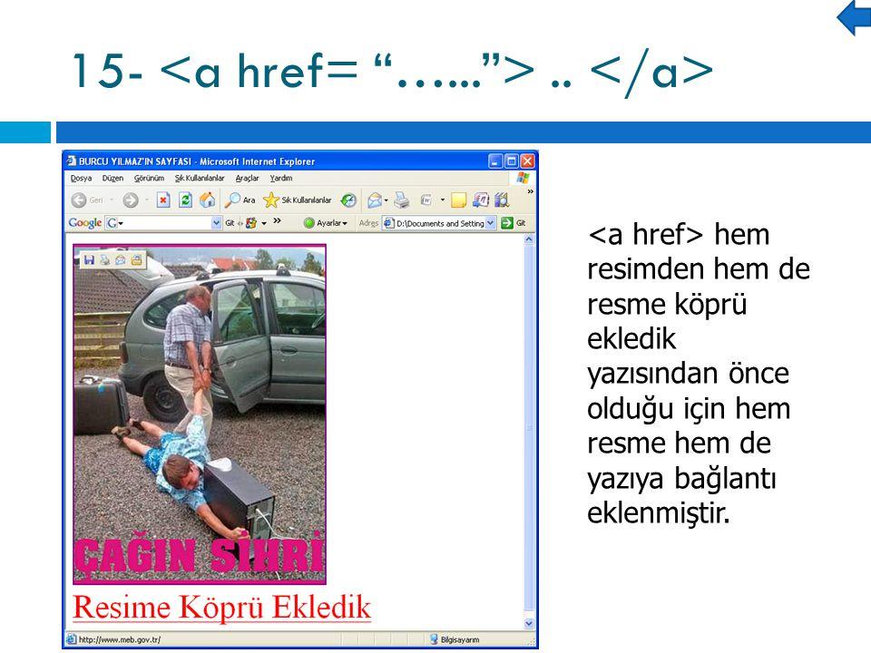 hem resimden hem de resme köprü ekledik yazısından önce olduğu için hem resme hem de yazıya bağlantı eklenmiştir.