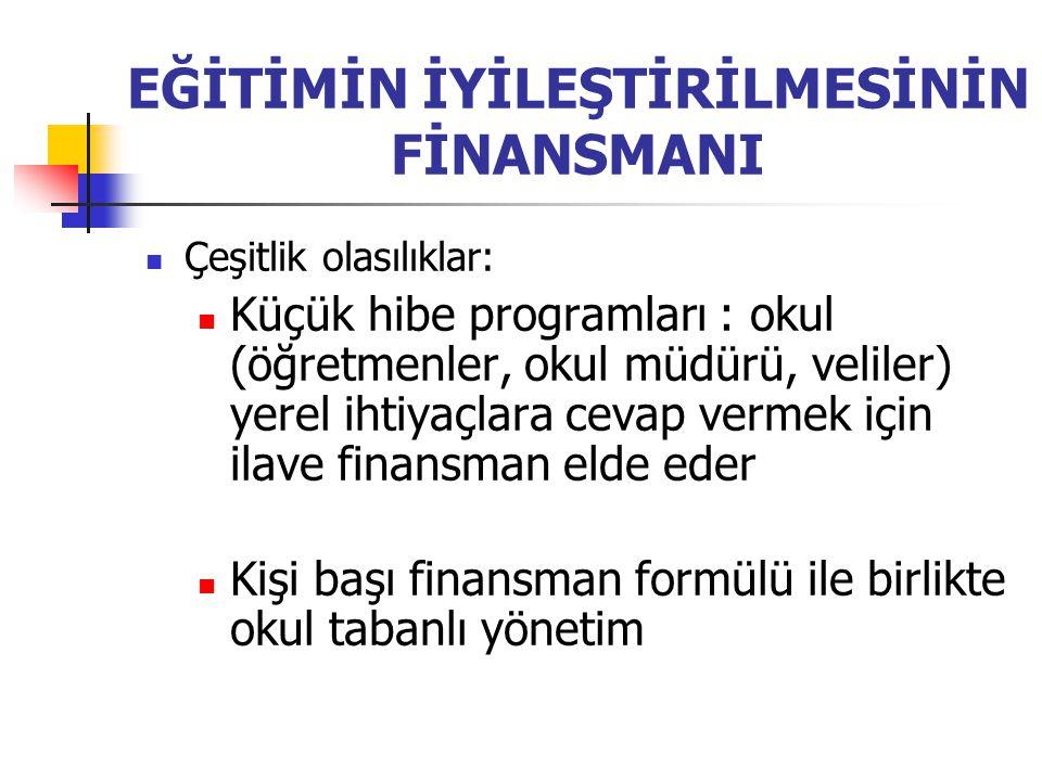 EĞİTİMİN İYİLEŞTİRİLMESİNİN FİNANSMANI Çeşitlik olasılıklar: Küçük hibe programları : okul (öğretmenler, okul müdürü, veliler) yerel ihtiyaçlara cevap vermek için ilave finansman elde eder Kişi başı finansman formülü ile birlikte okul tabanlı yönetim