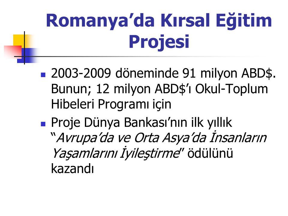 Romanya'da Kırsal Eğitim Projesi 2003-2009 döneminde 91 milyon ABD$. Bunun; 12 milyon ABD$'ı Okul-Toplum Hibeleri Programı için Proje Dünya Bankası'nı