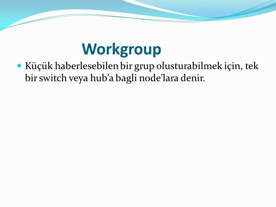 Workgroup Küçük haberlesebilen bir grup olusturabilmek için, tek bir switch veya hub'a bagli node'lara denir.