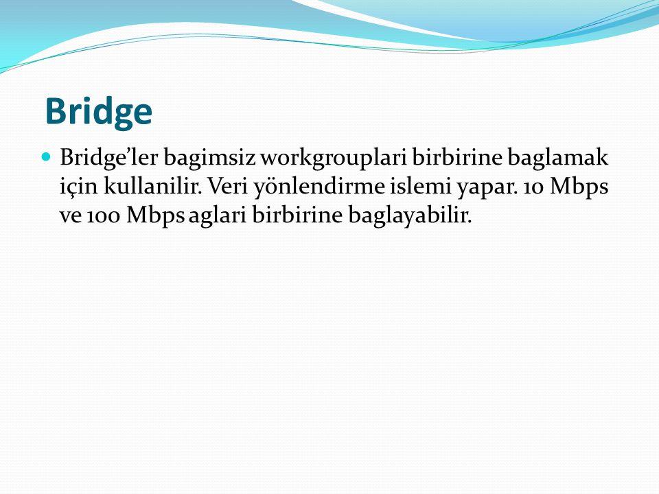 Bridge Bridge'ler bagimsiz workgrouplari birbirine baglamak için kullanilir.