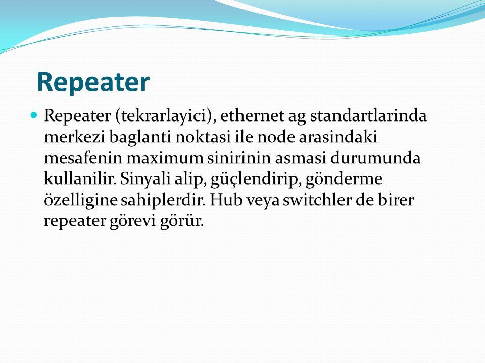 Repeater Repeater (tekrarlayici), ethernet ag standartlarinda merkezi baglanti noktasi ile node arasindaki mesafenin maximum sinirinin asmasi durumunda kullanilir.