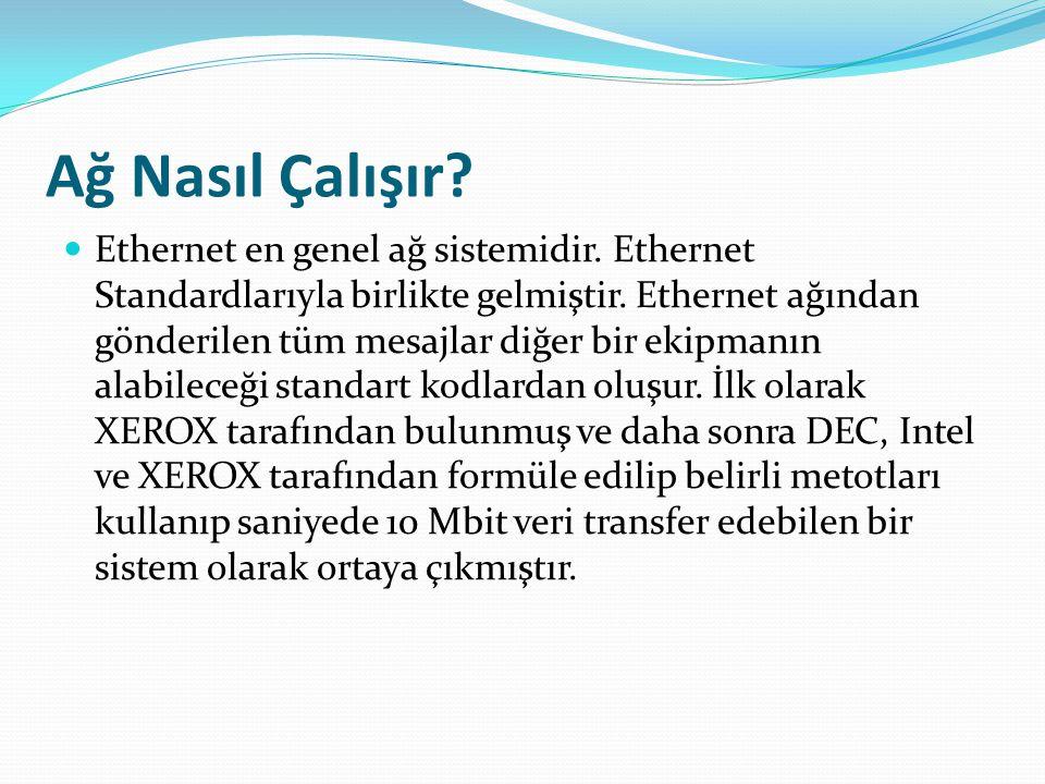 Ağ Nasıl Çalışır.Ethernet en genel ağ sistemidir.