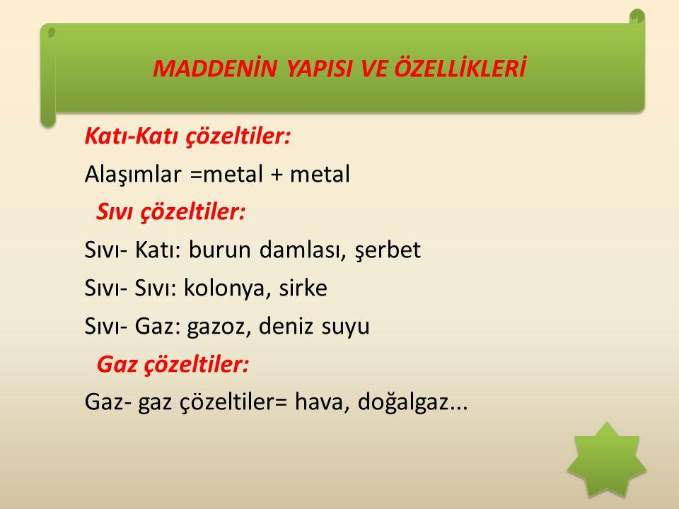MADDENİN YAPISI VE ÖZELLİKLERİ Katı-Katı çözeltiler: Alaşımlar =metal + metal Sıvı çözeltiler: Sıvı- Katı: burun damlası, şerbet Sıvı- Sıvı: kolonya, sirke Sıvı- Gaz: gazoz, deniz suyu Gaz çözeltiler: Gaz- gaz çözeltiler= hava, doğalgaz...