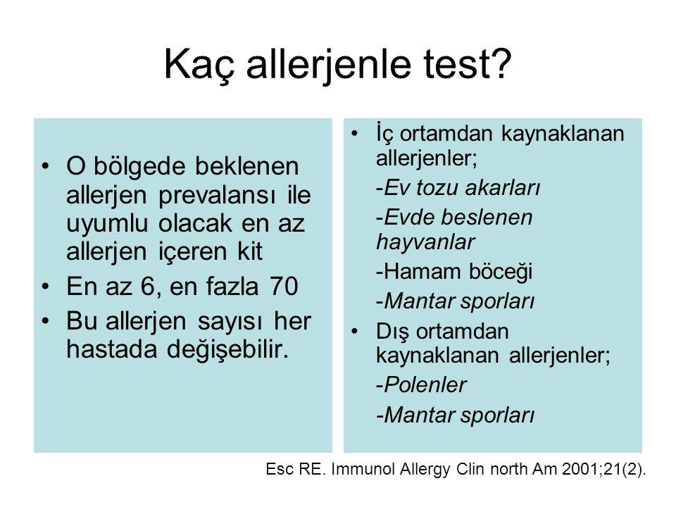 Kaç allerjenle test? O bölgede beklenen allerjen prevalansı ile uyumlu olacak en az allerjen içeren kit En az 6, en fazla 70 Bu allerjen sayısı her ha
