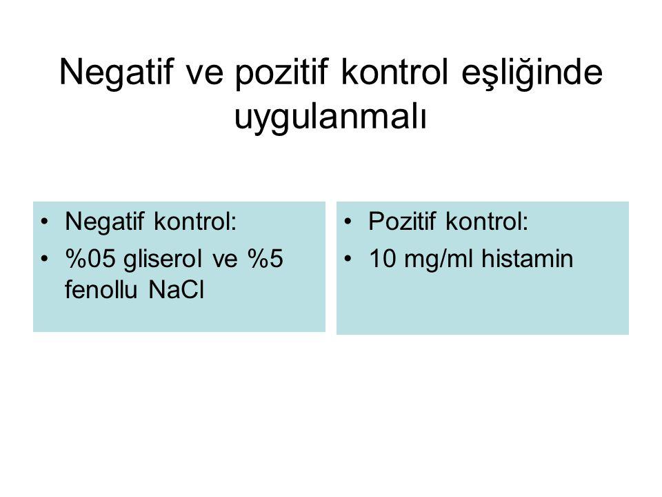 Negatif ve pozitif kontrol eşliğinde uygulanmalı Negatif kontrol: %05 gliserol ve %5 fenollu NaCl Pozitif kontrol: 10 mg/ml histamin