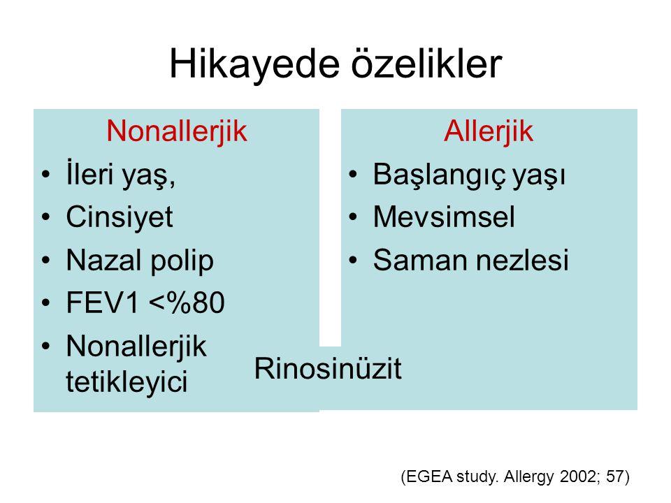 Hikayede özelikler Nonallerjik İleri yaş, Cinsiyet Nazal polip FEV1 <%80 Nonallerjik tetikleyici Allerjik Başlangıç yaşı Mevsimsel Saman nezlesi (EGEA