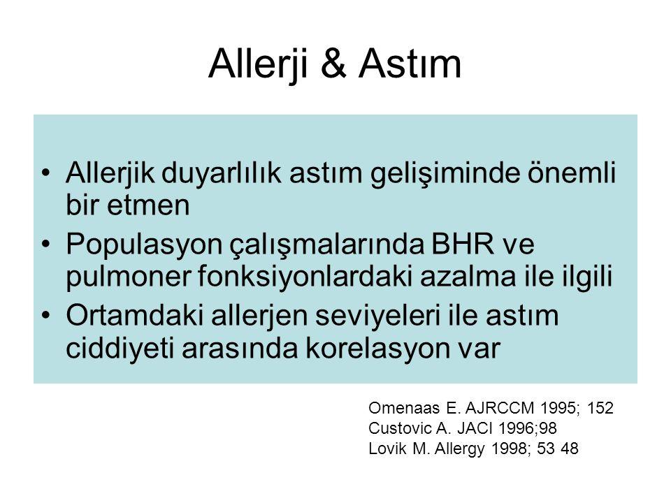 Allerji & Astım Allerjik duyarlılık astım gelişiminde önemli bir etmen Populasyon çalışmalarında BHR ve pulmoner fonksiyonlardaki azalma ile ilgili Or