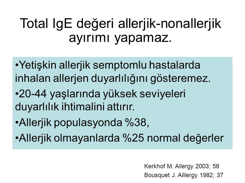 Total IgE değeri allerjik-nonallerjik ayırımı yapamaz. Yetişkin allerjik semptomlu hastalarda inhalan allerjen duyarlılığını gösteremez. 20-44 yaşları