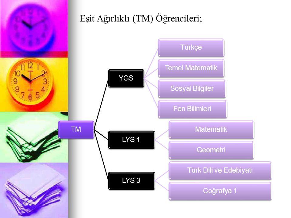 Eşit Ağırlıklı (TM) Öğrencileri; TMYGSTürkçeTemel MatematikSosyal BilgilerFen BilimleriLYS 1MatematikGeometriLYS 3Türk Dili ve EdebiyatıCoğrafya 1
