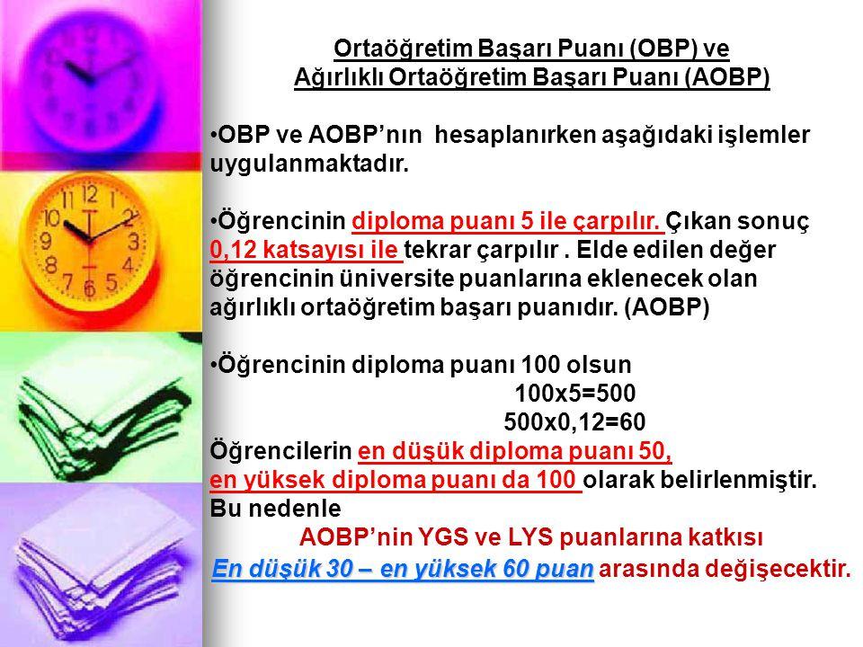 Ortaöğretim Başarı Puanı (OBP) ve Ağırlıklı Ortaöğretim Başarı Puanı (AOBP) OBP ve AOBP'nın hesaplanırken aşağıdaki işlemler uygulanmaktadır. Öğrencin